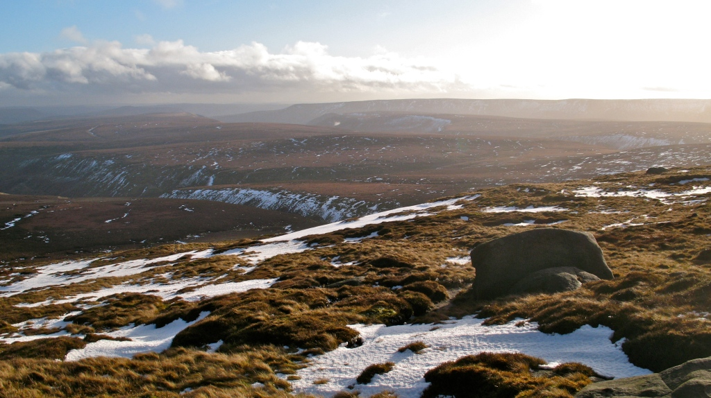 Bleaklow Stones looking towards Alport Dale and Kinder Scout