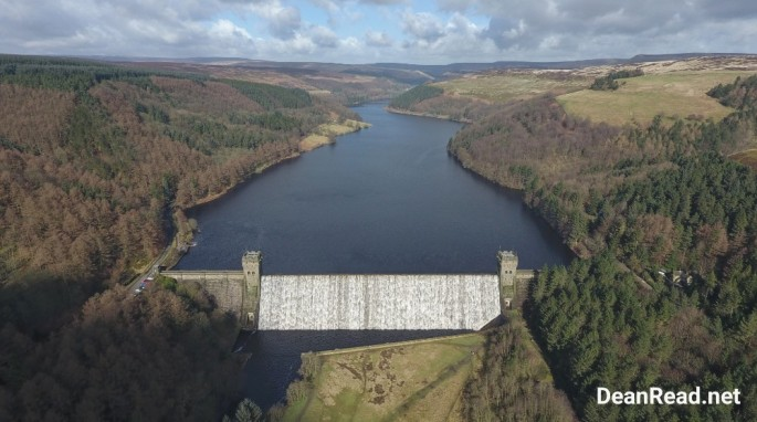Aerial view of the Derwent Reservoir wall overflowing before the drone ban came in to effect